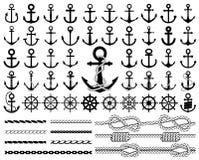Σύνολο αγκύρων, εικονιδίων πηδαλίων, και σχοινιών Στοκ εικόνες με δικαίωμα ελεύθερης χρήσης