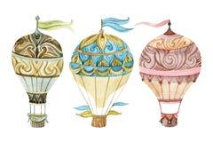 Σύνολο αερόστατων Σύνολο μπαλονιών ζεστού αέρα Watercolor Στοκ Φωτογραφίες