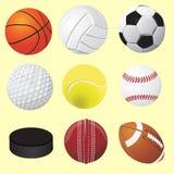 Σύνολο αθλητικών σφαιρών, διανυσματική ρεαλιστική απεικόνιση Στοκ εικόνες με δικαίωμα ελεύθερης χρήσης
