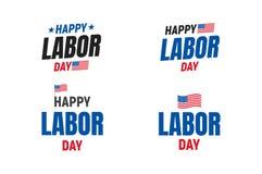 Σύνολο ΑΜΕΡΙΚΑΝΙΚΗΣ τυπογραφίας Εργατικής Ημέρας Λογότυπο τυπογραφίας για την ΑΜΕΡΙΚΑΝΙΚΗ Εργατική Ημέρα Ευτυχής Εργατική Ημέρα Η Στοκ Φωτογραφίες