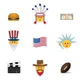 Σύνολο αμερικανικού emoticon διανύσματος Στοκ εικόνα με δικαίωμα ελεύθερης χρήσης
