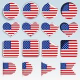 Σύνολο ΑΜΕΡΙΚΑΝΙΚΩΝ σημαιών σε ένα επίπεδο σχέδιο Στοκ φωτογραφία με δικαίωμα ελεύθερης χρήσης