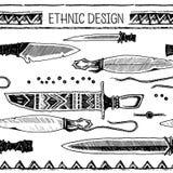 Σύνολο αμερικανού ιθαγενούς μελανιού σχεδίων χεριών knifes Φυλετικός εθνικός άνευ ραφής Γραπτά χρώματα διανυσματική απεικόνιση