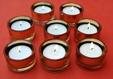 Σύνολο αναμμένων κεριών Στοκ φωτογραφία με δικαίωμα ελεύθερης χρήσης