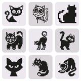 Σύνολο αναδρομικής γάτας εικονοκυττάρου στο απλό ελάχιστο μαύρο ύφος Στοκ εικόνα με δικαίωμα ελεύθερης χρήσης