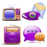 Σύνολο αναδρομικού τυποποιημένου τηλεφώνου και ταχυδρομείου TV ραδιο Απεικόνιση αποθεμάτων