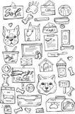 Σύνολο αναδρομικών ετικετών προσοχής κατοικίδιων ζώων, διακριτικών και στοιχείων σχεδίου Κατάστημα πώλησης σκυλιών Στοκ φωτογραφίες με δικαίωμα ελεύθερης χρήσης