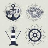Σύνολο αναδρομικών ναυτικών ετικετών επίσης corel σύρετε το διάνυσμα απεικόνισης Στοκ Εικόνες