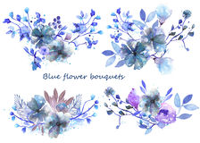 Σύνολο ανθοδεσμών watercolor με τα μπλε λουλούδια και τα φύλλα Στοκ Εικόνες