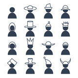 Σύνολο ανθρώπου με τα εικονίδια differents headdress Στοκ Εικόνες