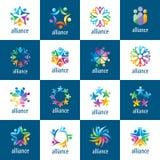 Σύνολο ανθρώπων ένωσης λογότυπων απεικόνιση αποθεμάτων