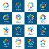 Σύνολο ανθρώπων ένωσης λογότυπων διανυσματική απεικόνιση