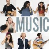 Σύνολο ανθρώπων ανθρώπων ποικιλομορφίας που απολαμβάνουν το κολάζ στούντιο μουσικής Στοκ Εικόνες