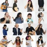 Σύνολο ανθρώπων ανθρώπων ποικιλομορφίας που απολαμβάνουν το κολάζ στούντιο μουσικής Στοκ φωτογραφίες με δικαίωμα ελεύθερης χρήσης