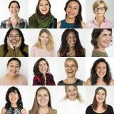 Σύνολο ανθρώπων γυναικών ποικιλομορφίας με την έκφραση Studi προσώπου χαμόγελου στοκ φωτογραφία