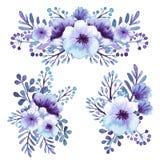 Σύνολο ανοικτό βιολετί ανθοδεσμών λουλουδιών Watercolor απεικόνιση αποθεμάτων