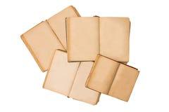 Σύνολο ανοικτών παλαιών βιβλίων που απομονώνονται, εκλεκτής ποιότητας βιβλίο με τις κενές κίτρινες λεκιασμένες σελίδες Κενές σελί Στοκ φωτογραφία με δικαίωμα ελεύθερης χρήσης