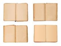 Σύνολο ανοικτών παλαιών βιβλίων που απομονώνονται, εκλεκτής ποιότητας βιβλίο με τις κενές κίτρινες λεκιασμένες σελίδες Στοκ φωτογραφία με δικαίωμα ελεύθερης χρήσης