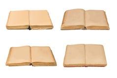 Σύνολο ανοικτών παλαιών βιβλίων που απομονώνονται, εκλεκτής ποιότητας βιβλίο με τις κενές κίτρινες λεκιασμένες σελίδες Στοκ Εικόνες