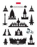 Σύνολο αντικειμένου οικοδόμησης αρχιτεκτονικής ορόσημων της Ινδονησίας Στοκ Εικόνες