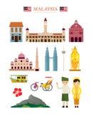 Σύνολο αντικειμένου οικοδόμησης αρχιτεκτονικής ορόσημων της Μαλαισίας Στοκ εικόνες με δικαίωμα ελεύθερης χρήσης