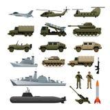 Σύνολο αντικειμένου στρατιωτικών οχημάτων, πλάγια όψη Διανυσματική απεικόνιση