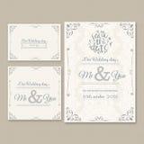 Σύνολο απεικόνισης καρτών γαμήλιας πρόσκλησης Διανυσματική απεικόνιση