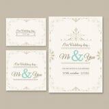 Σύνολο απεικόνισης καρτών γαμήλιας πρόσκλησης ελεύθερη απεικόνιση δικαιώματος