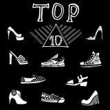 Σύνολο απεικόνισης πινάκων μόδας παπουτσιών top 10 Στοκ φωτογραφία με δικαίωμα ελεύθερης χρήσης