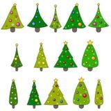 Σύνολο απεικόνισης χριστουγεννιάτικων δέντρων. Στοκ Εικόνες