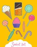 Σύνολο απομονωμένων γλυκών τροφίμων διανυσματική απεικόνιση