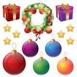 Σύνολο απομονωμένων διακοσμήσεων Χριστουγέννων Στεφάνι, σφαίρες, κιβώτια δώρων, αστέρια επίσης corel σύρετε το διάνυσμα απεικόνισ Στοκ φωτογραφία με δικαίωμα ελεύθερης χρήσης