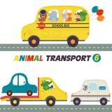 Σύνολο απομονωμένων μεταφορών με το μέρος 6 ζώων Στοκ Εικόνα