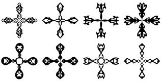 Σύνολο απομονωμένων σταυρών που διακοσμούνται Στοκ Εικόνες