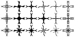Σύνολο απομονωμένων σταυρών που διακοσμούνται Στοκ εικόνα με δικαίωμα ελεύθερης χρήσης