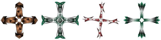 Σύνολο απομονωμένων σταυρών Στοκ Εικόνα