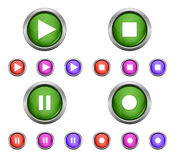 Σύνολο απομονωμένων στιλπνών διανυσματικών κουμπιών Ιστού Όμορφα κουμπιά Διαδικτύου απεικόνιση αποθεμάτων