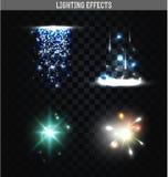 Σύνολο απομονωμένων φωτισμός αποτελεσμάτων Μαγικά, φωτεινά αστέρια διανυσματική απεικόνιση