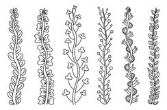 Σύνολο απλών floral μίσχων Στοκ φωτογραφίες με δικαίωμα ελεύθερης χρήσης