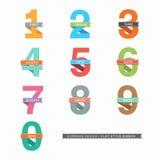 Σύνολο αριθμών 0-9 με τις κορδέλλες Στοκ Φωτογραφίες