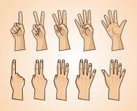 Σύνολο αριθμών στην απεικόνιση χεριών Στοκ Εικόνες