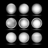 Σύνολο ασημένιων στρογγυλών κουμπιών για τον ιστοχώρο Στοκ εικόνα με δικαίωμα ελεύθερης χρήσης