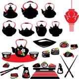 Σύνολο ασιατικών εικονιδίων τροφίμων - teapot, σούσια. Στοκ φωτογραφία με δικαίωμα ελεύθερης χρήσης
