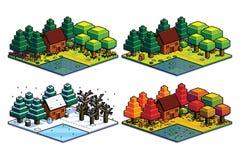 Σύνολο δασικής απομονωμένης σκηνή απεικόνισης του Four Seasons Στοκ Εικόνες