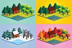 Σύνολο δασικής απομονωμένης σκηνή απεικόνισης του Four Seasons Στοκ Φωτογραφίες