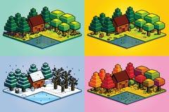 Σύνολο δασικής απομονωμένης σκηνή απεικόνισης του Four Seasons Στοκ εικόνες με δικαίωμα ελεύθερης χρήσης