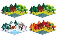 Σύνολο δασικής απομονωμένης σκηνή απεικόνισης του Four Seasons Στοκ φωτογραφία με δικαίωμα ελεύθερης χρήσης