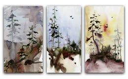 Σύνολο δασικών τοπίων υψηλό watercolor ποιοτικής ανίχνευσης ζωγραφικής διορθώσεων πλίθας photoshop πολύ Στοκ φωτογραφία με δικαίωμα ελεύθερης χρήσης