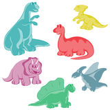 Σύνολο Αστείοι χρωματισμένοι δεινόσαυροι Στοκ φωτογραφία με δικαίωμα ελεύθερης χρήσης
