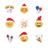 Σύνολο αστείου διανύσματος emoticon που απομονώνεται στο άσπρο υπόβαθρο νέο έτος θέματος Στοκ Φωτογραφία